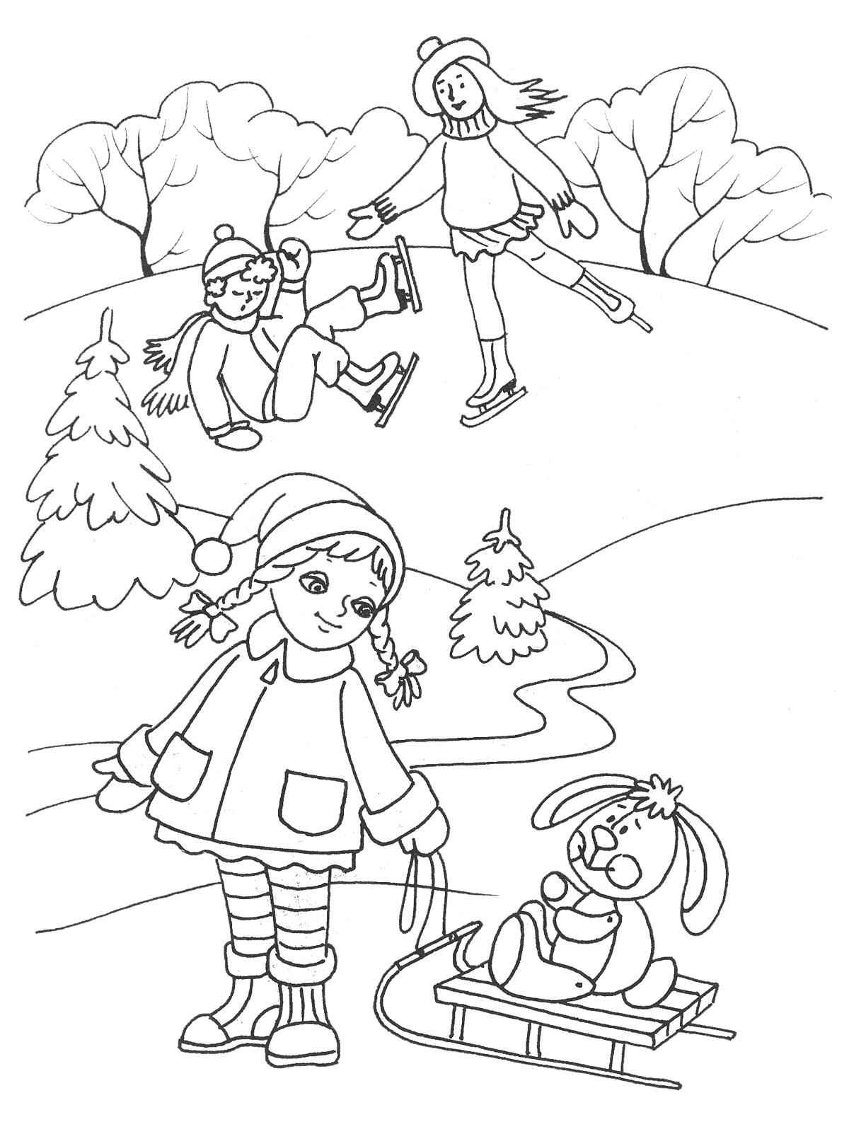 Рука помощи, девочка катает кролика на санках Раскраски про зиму для детей