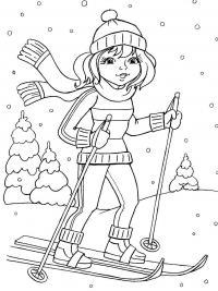Девочка на лыжах Детские раскраски зима распечатать