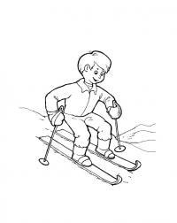 Мальчик учится кататься на лыжах Детские раскраски зима распечатать