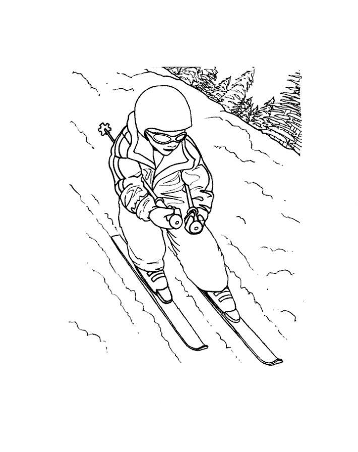 Красивый спуск Рисунок раскраска на зимнюю тему