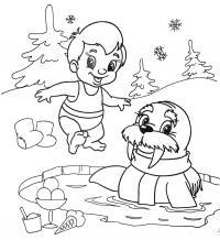 Лед Раскраска зима пришла