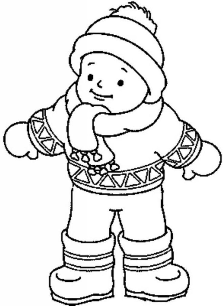Одет по зимнему Детские раскраски зима распечатать