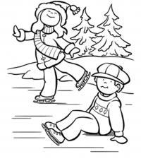 Катания и падения Раскраски про зиму для детей
