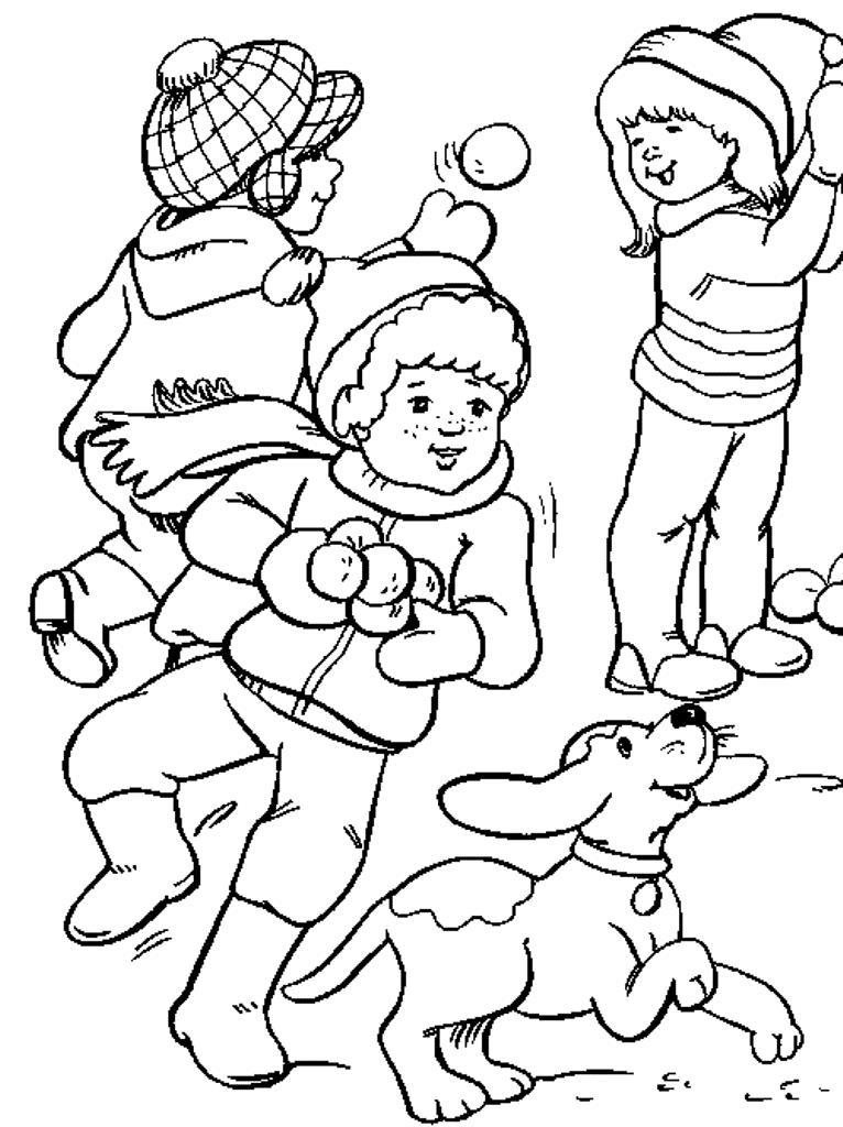 Задорная игра в снежки Детские раскраски зима распечатать