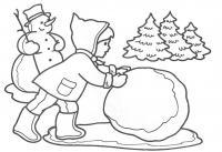 Большой ком снега Детские раскраски зима распечатать