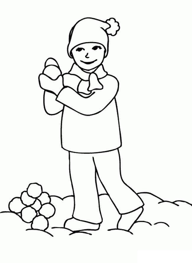 Наготовить снежков для игры Зимние раскраски для девочек