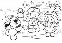 Игра в снежки с собачкой Зимние раскраски для девочек