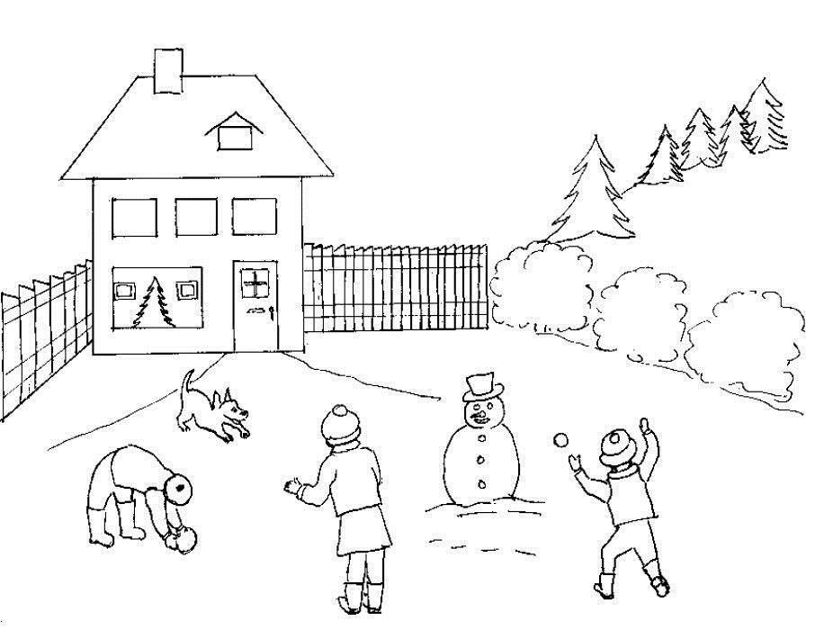 Игра в снежки Раскраски зимушка зима