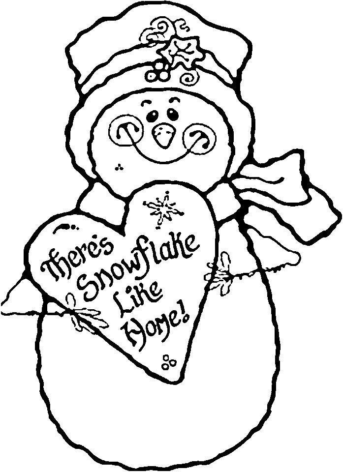 Снеговик с большим сердцем Рисунок раскраска на зимнюю тему