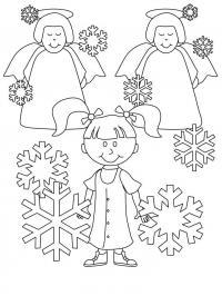 Снежинки  и ангелочки Детские раскраски зима распечатать