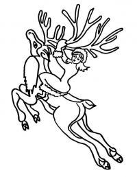 Герда едет на олене Зимние раскраски для мальчиков
