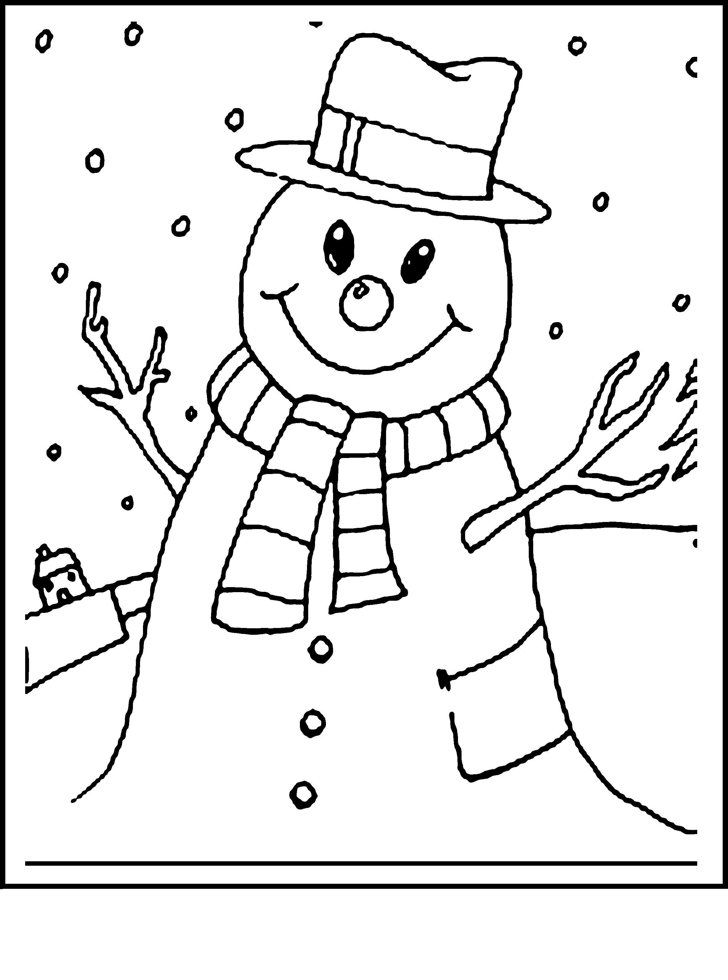 Снеговик весельчак Раскраска зима распечатать