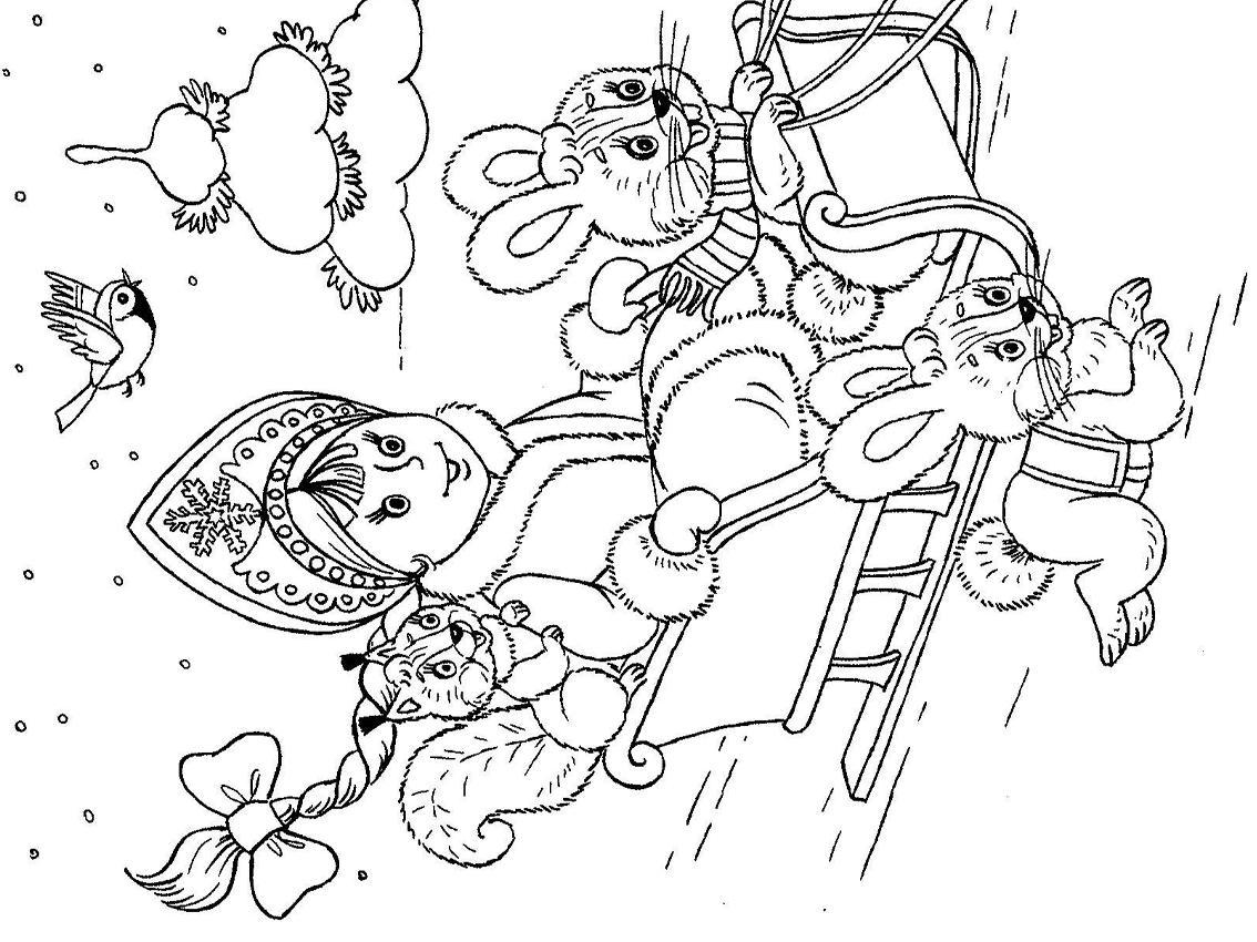 Снегурочка в упряжке с зайцами Детские раскраски зима распечатать