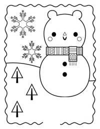 Снежный день Раскраска зима распечатать