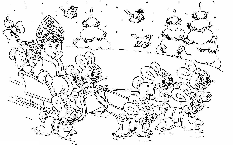 Снегурочка едет в санях с зайцами Детские раскраски зима распечатать
