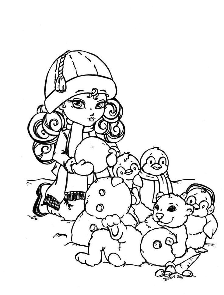 Девочка с пингвинами лепит снеговика Раскраска зима распечатать
