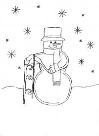 Снеговик с санками под снегом Раскраска зима распечатать