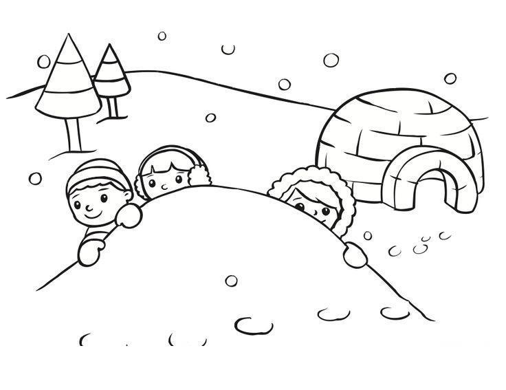 Снег Раскраска зима распечатать