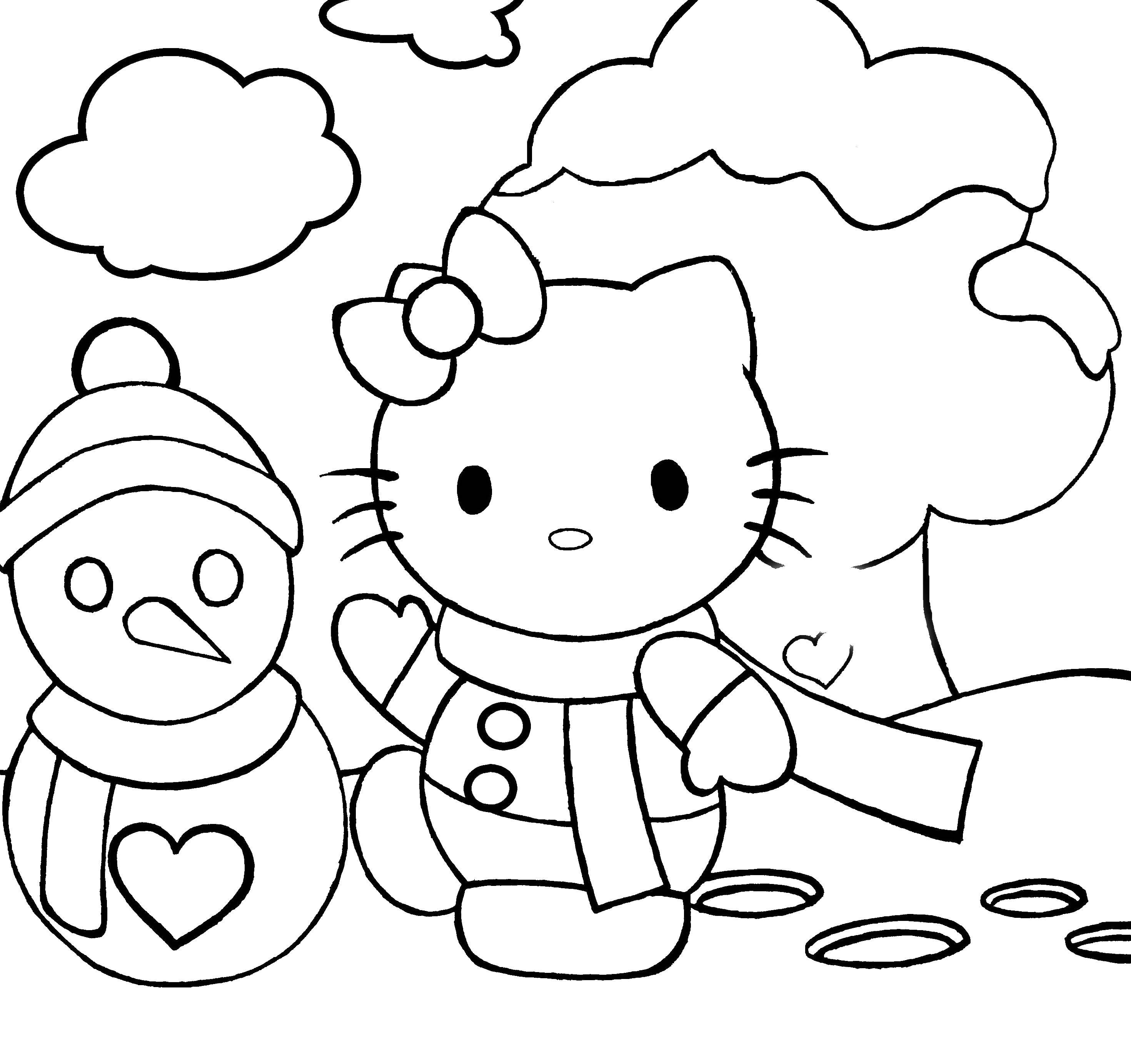 Hello kitty и снеговик Рисунок раскраска на зимнюю тему
