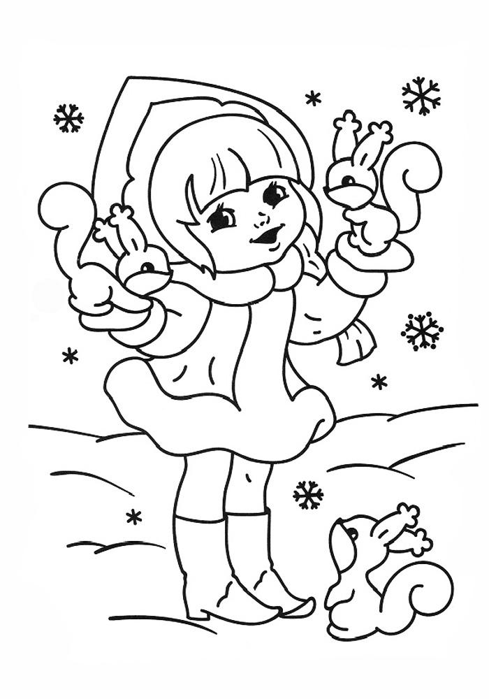 Снегурочка Детские раскраски зима распечатать