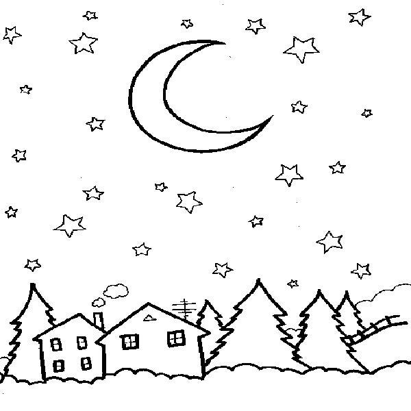 Зимняя ночь Зимние раскраски для мальчиков