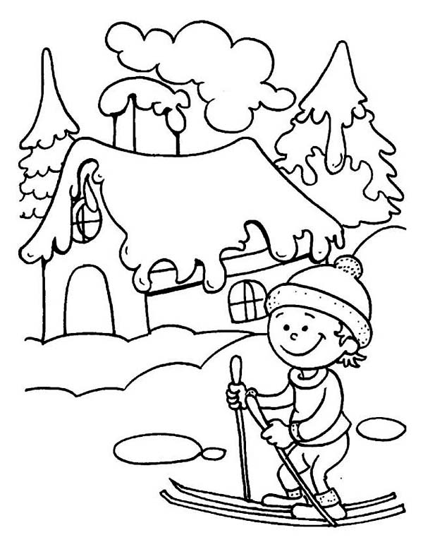На лыжах возле дома Рисунок раскраска на зимнюю тему