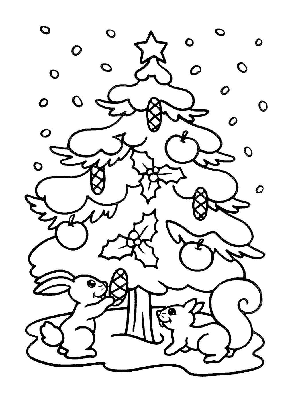 Белка Новогодняя елка Рисунок раскраска на зимнюю темуРаскраски про зиму