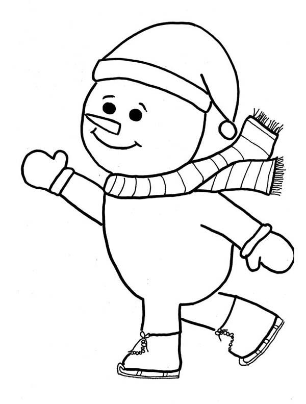 Снеговик на коньках Раскраска сказочная зима