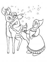 Северный олень герда и шаманка Зимние раскраски для мальчиков