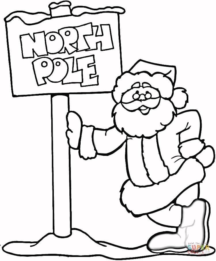 Северный полюс и дед мороз Зимние раскраски для малышей