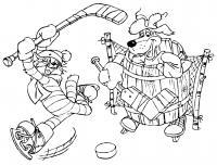 Простоквашино игра в хоккей Раскраска сказочная зима