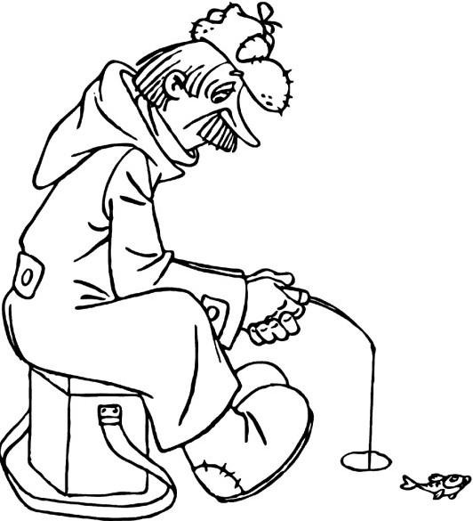 Простоквашино, почтальон печкин на зимней рыбалке Раскраска сказочная зима