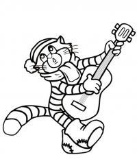 Простоквашино, кот матроскин играет на гитаре Раскраска сказочная зима
