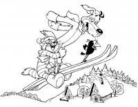 Простоквашино, кот ипес летят на лыжах Раскраска сказочная зима