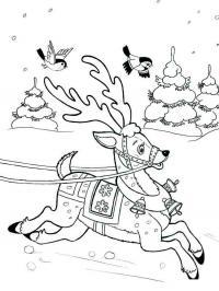 Звенят колокольчике на олене Зимние раскраски для девочек