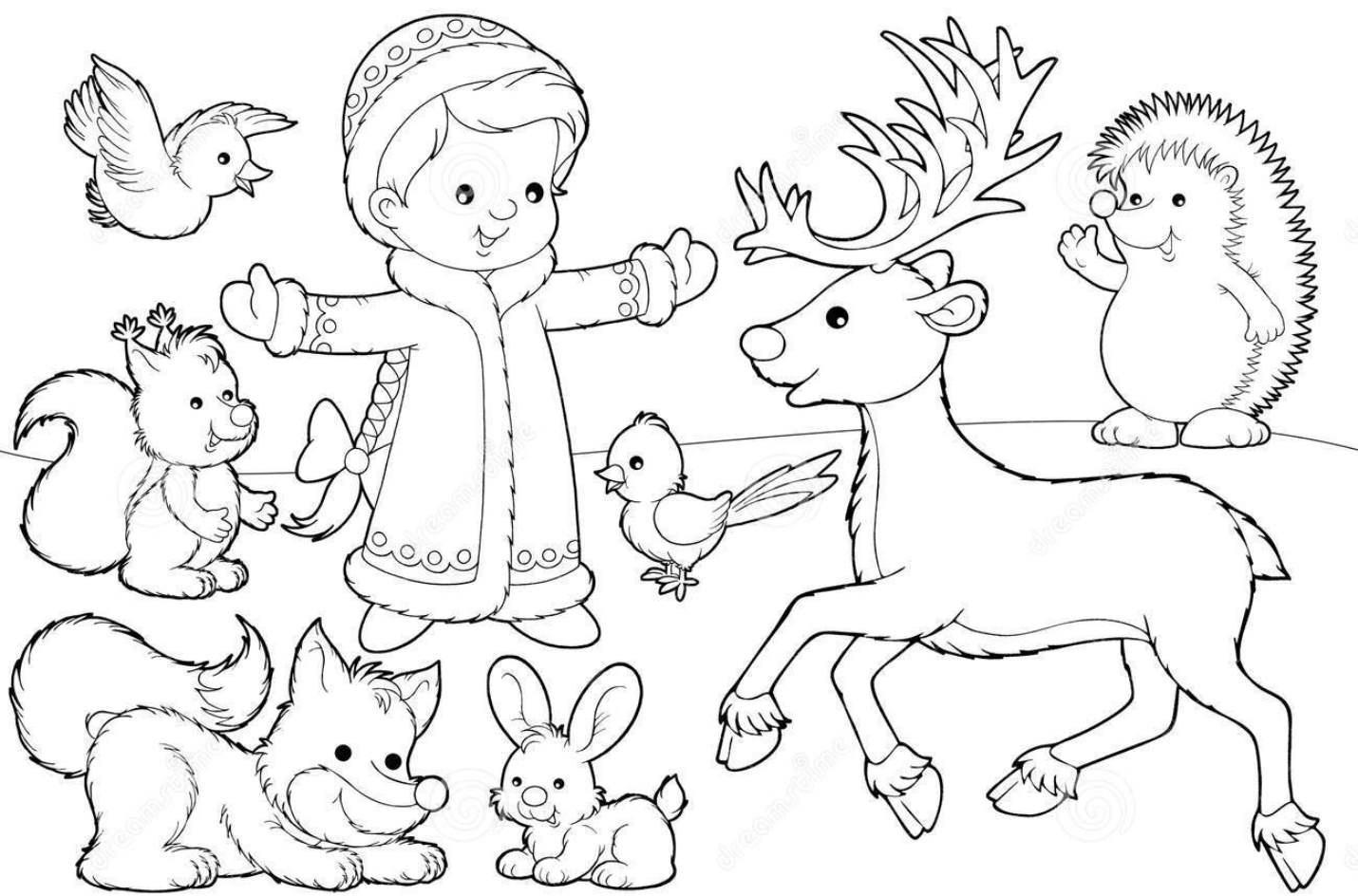 Дети Детские раскраски зима распечатать
