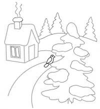 Домик и елка с птичкой Зимние рисунки раскраски