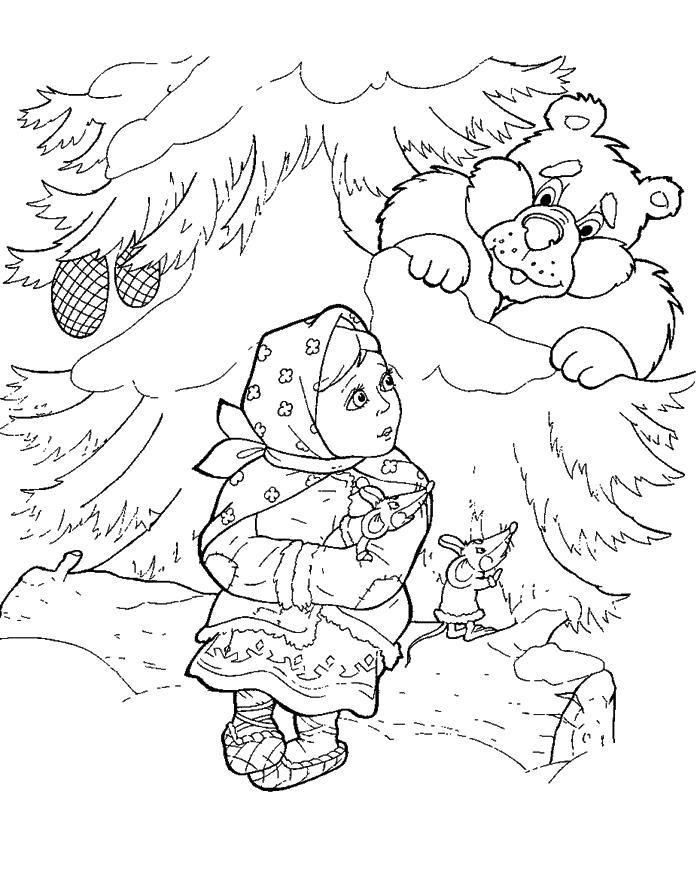 Лес Детские раскраски зима распечатать