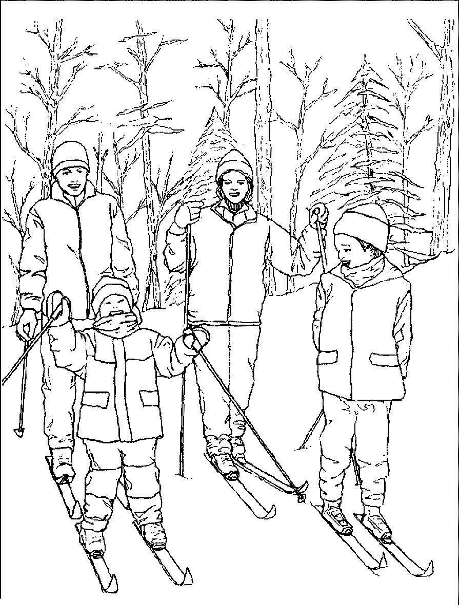Дети в лесу Детские раскраски зима распечатать