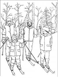 Дети в лесу Раскраски на тему зима