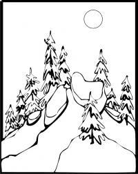 Лес Раскраска сказочная зима