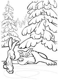 Заяц и волк Раскраски про зиму для детей