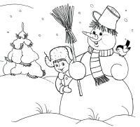 Снеговик с мальчиком в снегу Детские раскраски зима распечатать