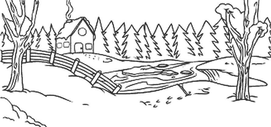 Лесная чаща Раскраска сказочная зима