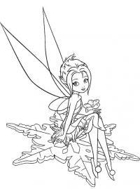 Лесная фея на снежинке Зимние раскраски для девочек
