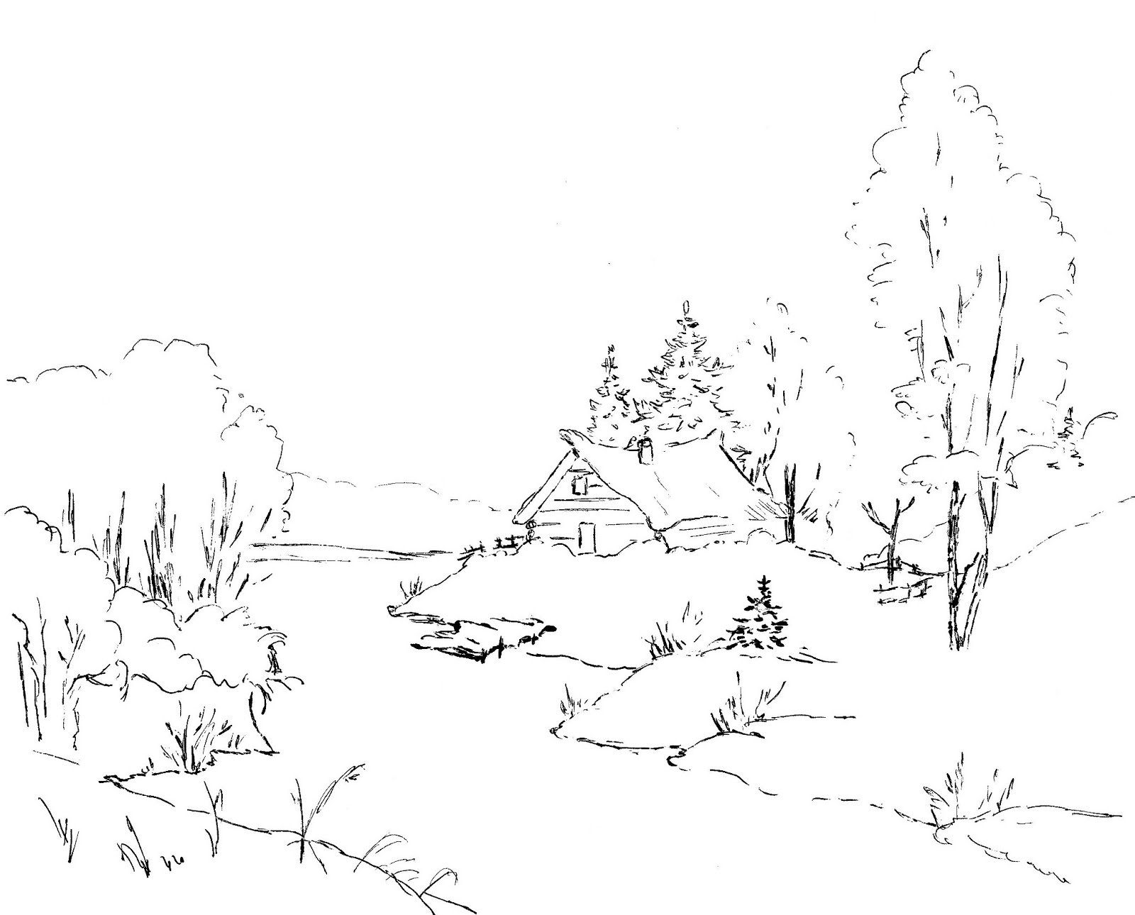 Одинокая избушка возле реки Раскраска зима