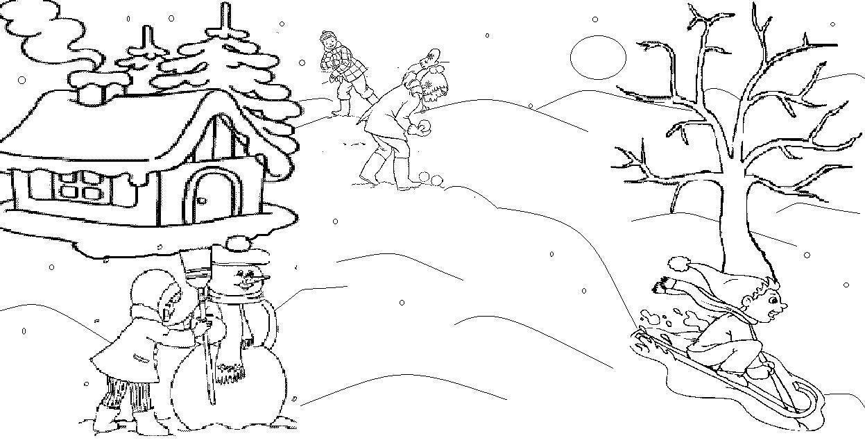 Зимней пейзаж Раскраска зима