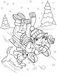 Девочка на санках Детские раскраски зима распечатать