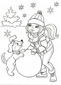 Пейзаж с елкой, девочка с собачкой Детские раскраски зима распечатать
