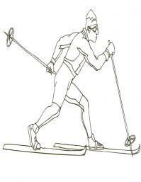 Бег на лыжах Раскраски зима распечатать бесплатно